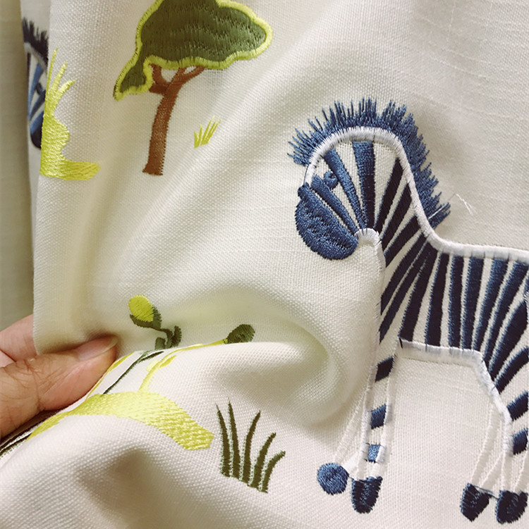 Children's Anime Embroidery Cotton Hemp Cartoon Zebra Curtains for Living Dining Room Bedroom.
