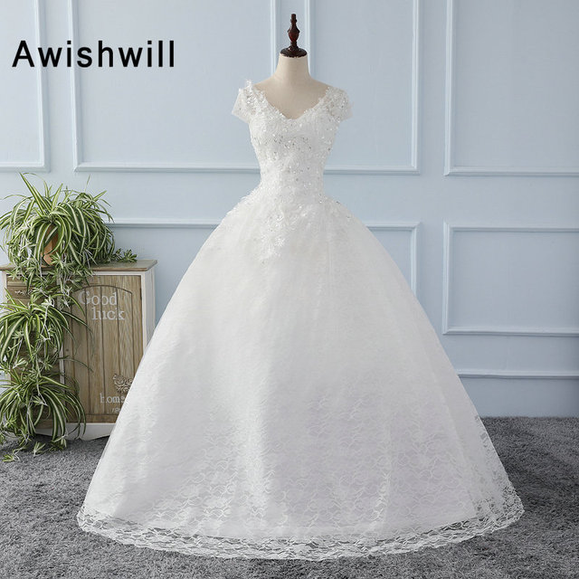 Cheap Wedding Dress White Ivory Short Sleeve V Neck Beading ...