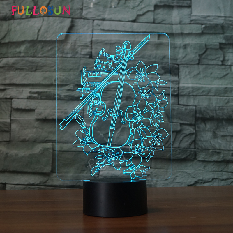 USB Creative Violin 3D Night Light Lighting Color Change LED Table Desk Lamp Fashion Gift for Childrens Decorative Lamp