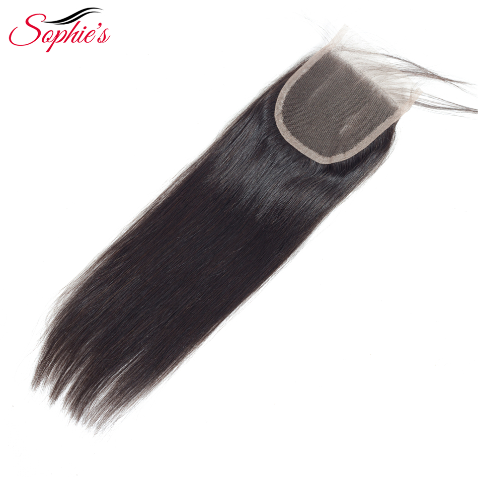 Sophies Hair Straight 4*4 Lace Closure Peruvian Human Hair Pre-plucked Hair Line Closure With Baby Hair Non-Remy Natural Color