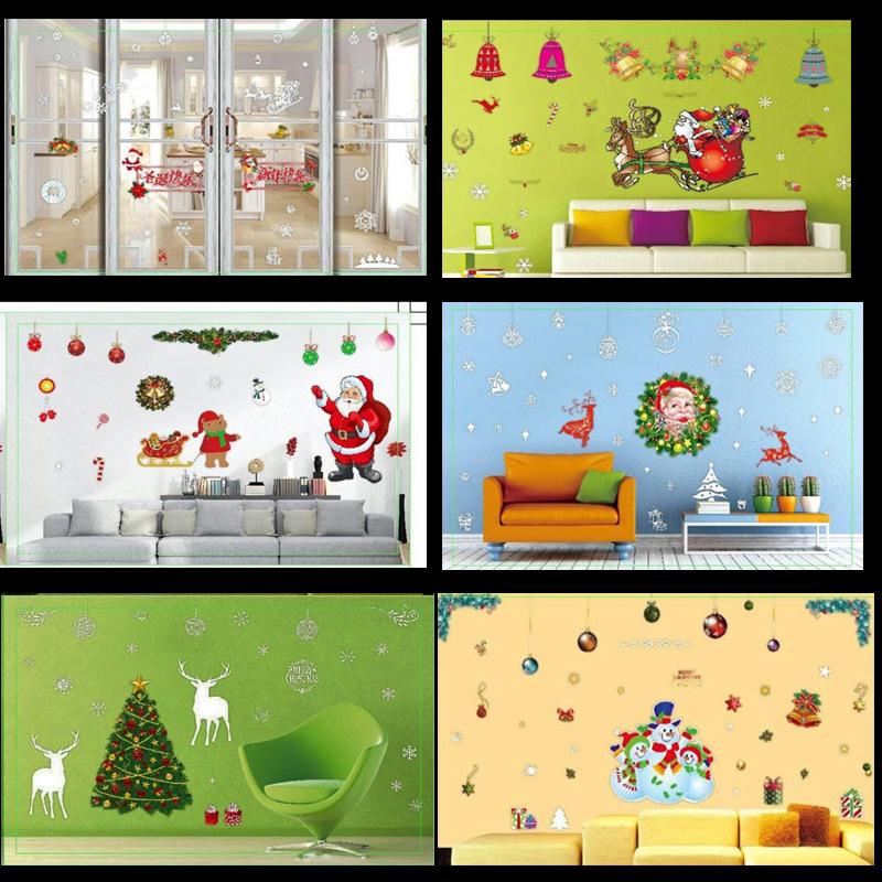 2016 Christmas Window Stickers Diy Xmas New Year Decoration Wall Decal Hotel Store Home Decor