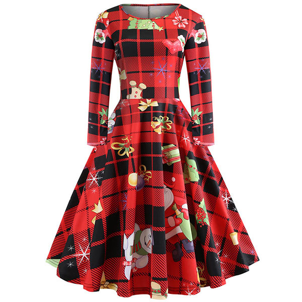 Elegant Women Dress Autumn Bodycon Long Sleeve A Line Midi Party Dress Floral Print Vintage Christmas Dresses vestidos