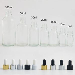 Image 3 - Ready to ship!! 100pcs 18MM 18/415 Aluminum screw cap white black bulb glass pipette Dropper accessories for 5ml 100ml bottles