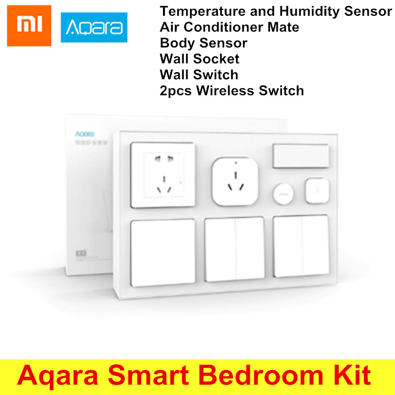 Original Xiaomi Aqara Smart Bedroom Kit Temperature and Humidity Sensor Body Sensor Wall Socket Wall Switch 2pcs Wireless Switch temperature and humidity sensor protective shell sht10 protective sleeve sht20 flue cured tobacco high humidity