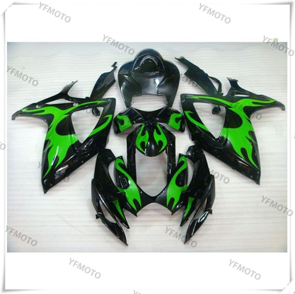 Motorcycle ABS Verde Fuoco Carena Corpo di Lavoro Carenatura Per SUZUKI GSXR600 GSXR 600 750 K6 2006-2007 + 4 regalo