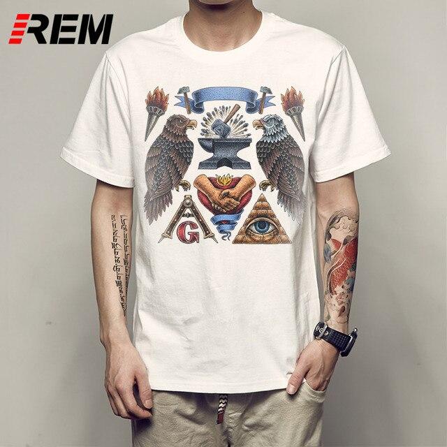 REM Nouveauté Imprimé T shirt Hommes ROUGE OISEAUX Drôle Mâle Tops Mode  Blanc À Manches Courtes 579340f40a17