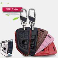 Real Leather Men Women Car Remote Key Case Cover Chain For BMW F30 F20 X1 X3 X5 X6 X7 E30 E34 E90 E60 E36 E39 E46 Key Holder
