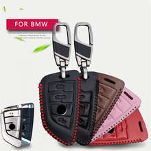 Real Leather Men Women Car Remote Key Case Cover Chain For BMW F30 F20 X1 X3 X5 X6 X7 E30 E34 E90 E60 E36 E39 E46 Key Holder
