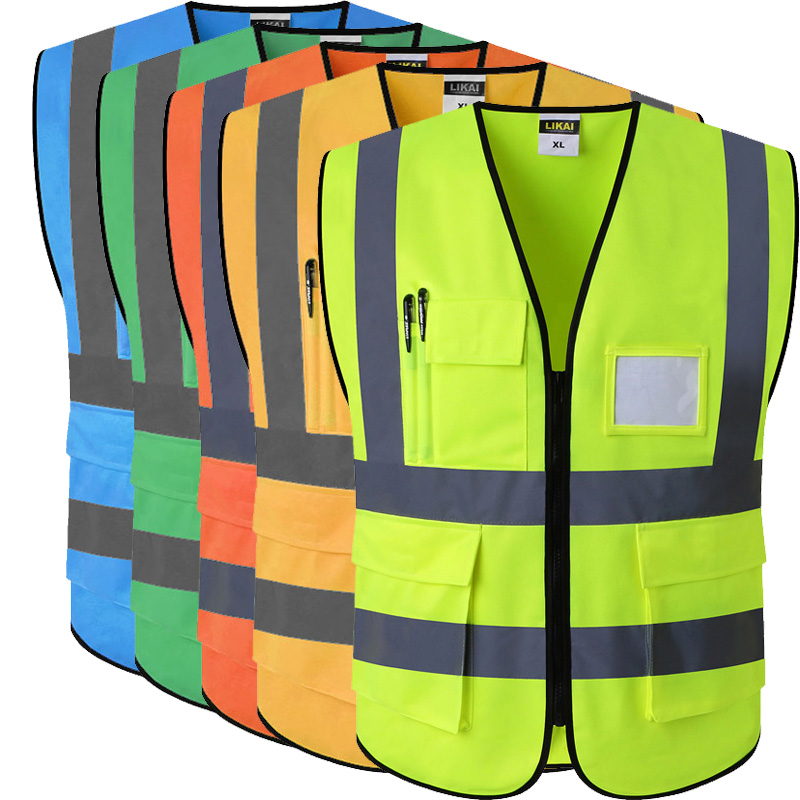 Professional Sale Spardwear Safety Mesh Vest Waistcoat Printing Logo Reflective Vest Fluorescent Orange Navy Blue Vest Free Shipping Workplace Safety Supplies