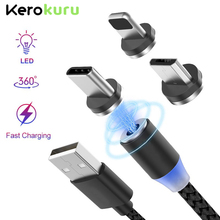 Kerokuru 2.4A Upgrade 1M Metal Magnetic Cable LED Lighting 3in1 Micro Type C for Iphone Android Phone Fast Charge