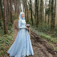 Sky Blue Muslim Evening Dress 2017 robe de soiree Hijab Long Sleeves Lace Appliques Formal Evening Party Gowns Dresses