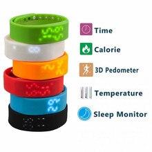 Banda Impermeable Gimnasio Rastreador Recargable Durable LED 3D Podómetro inteligente Poligrafía USB Deportes Pulsera Pulsera Inteligente