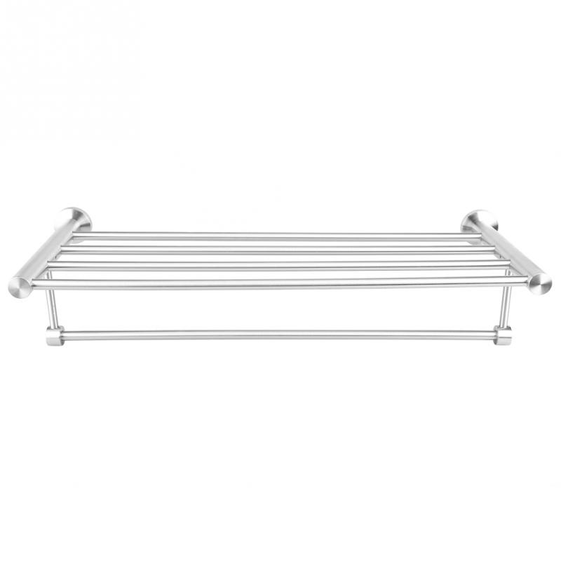 Double-deck Towel Rack Stainless Steel Bath Towel Rack Holder Washcloth Shelf Bathroom Washroom Storage Rack Rail Shelf Rail 2016 high quality brass and crystal bathroom towel rack gold towel holder hotel home bathroom storage rack rail shelf
