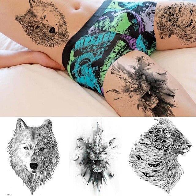 Rejaski 3d Cool King Lion Tribal Wolf Temporary Tattoo Stickers Men