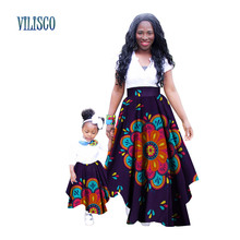 Mom Daughter Print Java Skirts Dashiki Clothes for Women Children Bazin Riche