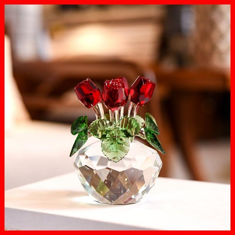 Souvenir cadeau cristal rouge Rose fleur Figurine printemps Bouquet Sculpture ornements cadeau-boîte maison mariage décor faveurs