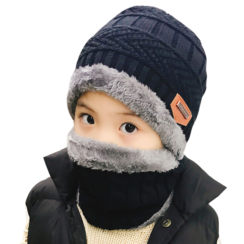 1 set(2pcs)Kids Unisex Winter Warm Hat and Circle Scarf Knitted Hat With Soft Fleece Lined Beanie Cap Scarves Children Boy Girl