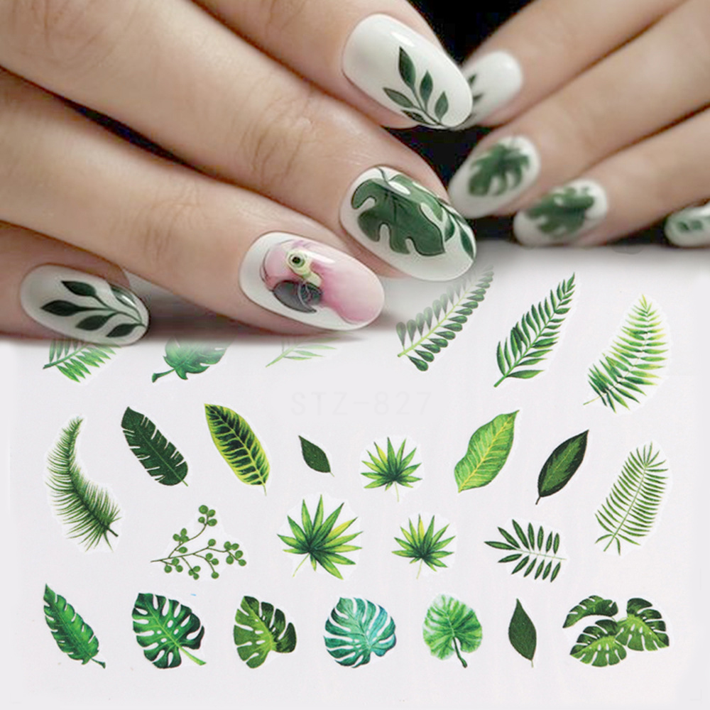 29Sheets Tropical Leaves Nail Water Decals Botanical Leaf Nail Stickers Butterfly Flowers Nail Art Transfer Sticker Decals-in Stickers & Decals from Beauty & Health