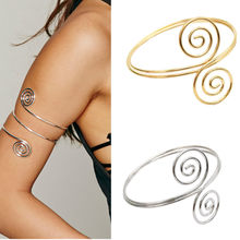 Punk Gold Silver Color Swirl Spiral Upper Arm Cuff Bracelet & Bangle For Women Men Hiphop Adjustable Armlet Armband Jewelry(China)
