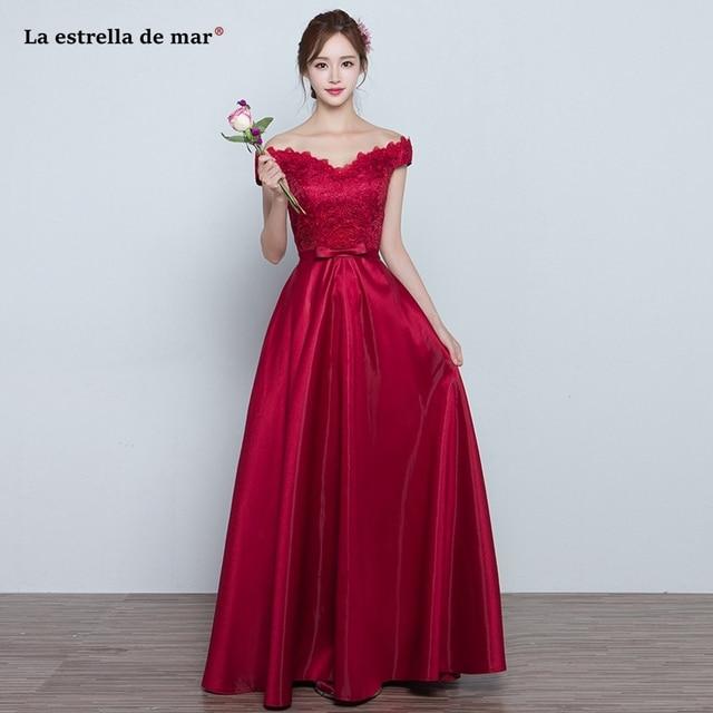 Us 89 0 La Estrella De Mar Wedding Guest Dress 2019 New Boat Neck Lace Short Sleeve A Line Burgundy Bridesmaid Dresses Long Plus Size In Bridesmaid