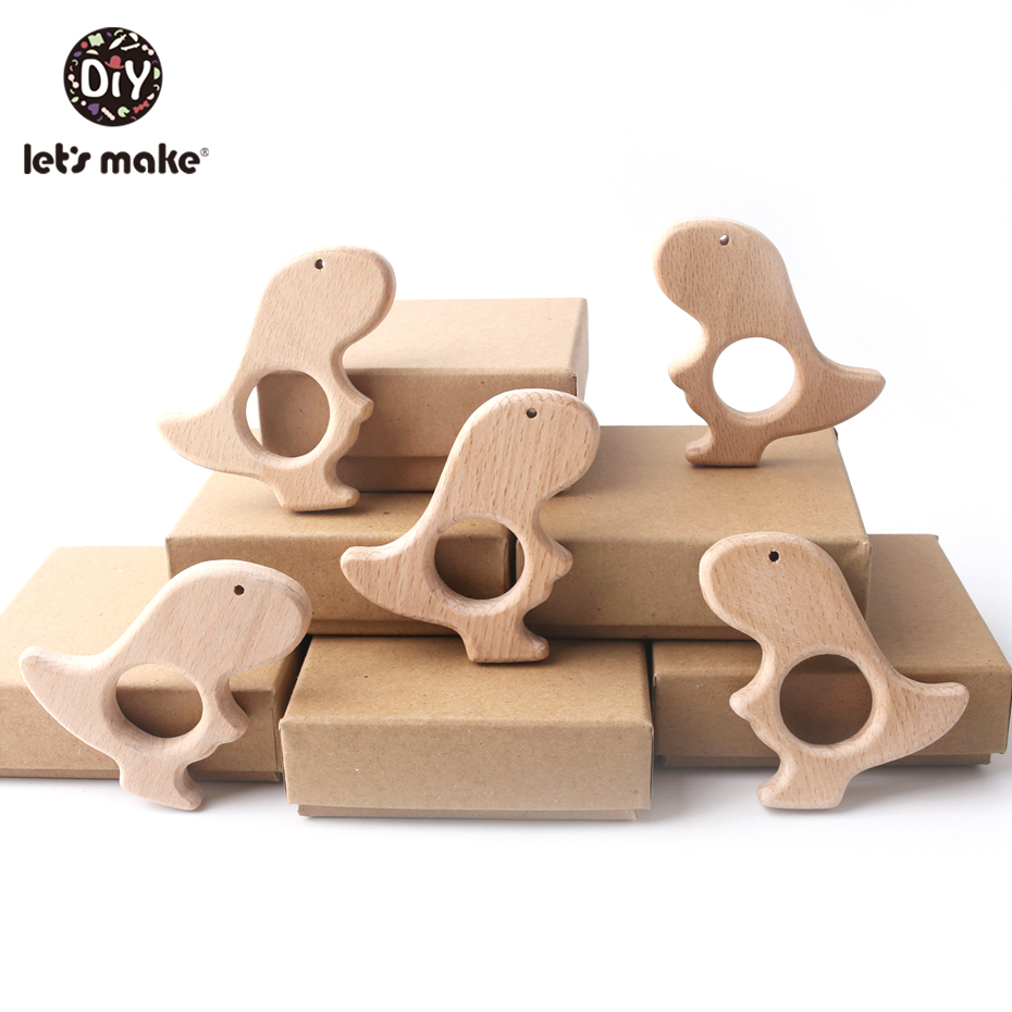 Let's Make Car Seat Toy 10PC Baby Wooden Teether Toys Dinosaur Baby Teething Toy Wood Teether Baby Teether For Pacifier Chain