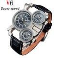 Montre Homme Reloj de Lujo Antiguo de la vendimia Relojes Para Hombre Super Suave de Cuero Hombres Reloj 3 movimiento de Cuarzo Relojes de Pulsera Para Hombres