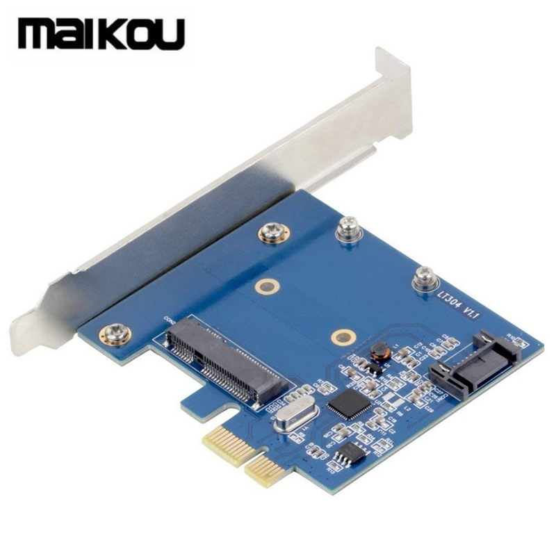 Maikou <font><b>PCIe</b></font> <font><b>To</b></font> MSATA SSD & SATA3.0 Combo Expansion Card, <font><b>PCI</b></font> Express Controller Mini SATA SSD <font><b>Adapter</b></font> image