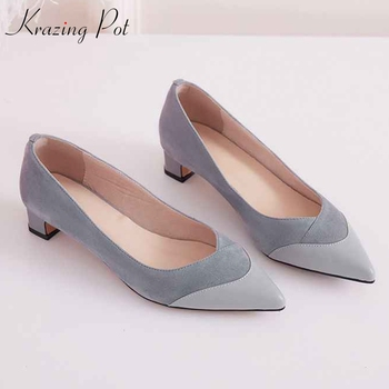 Krazing Pot 2019 full grain leather low heels pointed toe slip on Korean version sunshine girl fashion Summer shallow pumps L08