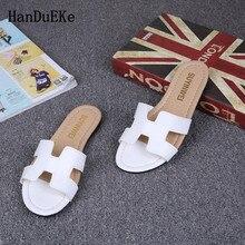 4ef8edf8155e3 HanDuEKe Women Slippers Slip On Slides Flat Shoes Brand Slippers Beach Flip  Flops Sandal Zapatos Mujer Sexy Classic Mature Flat