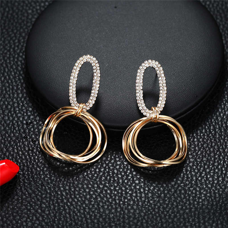 Luxury Golden Color Geometric Earrings Crystal  Round Circle Punk Drop Earrings Gift For Wedding Party Accessories
