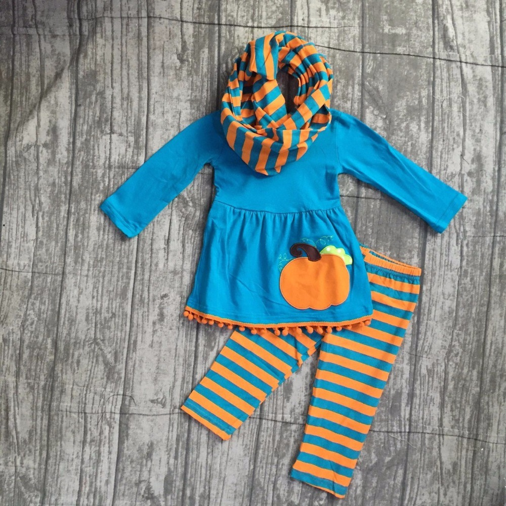 girls Winter outfits 3 pieces with scarf sets Halloween clothing children girl blue top with pumpkin with stripes pant outfits girls winter outfits 3 pieces with scarf sets halloween clothing children girl black top with stripes pumpkin pants outfits sets