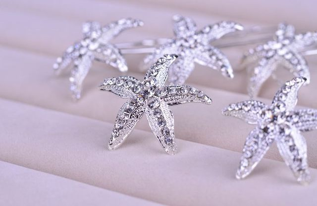 6pcs Lot Rhinestone Wedding Hairpins Starfish Hair Pins Crystal Clips For Bridal Accessories Jewelry Wigo0353