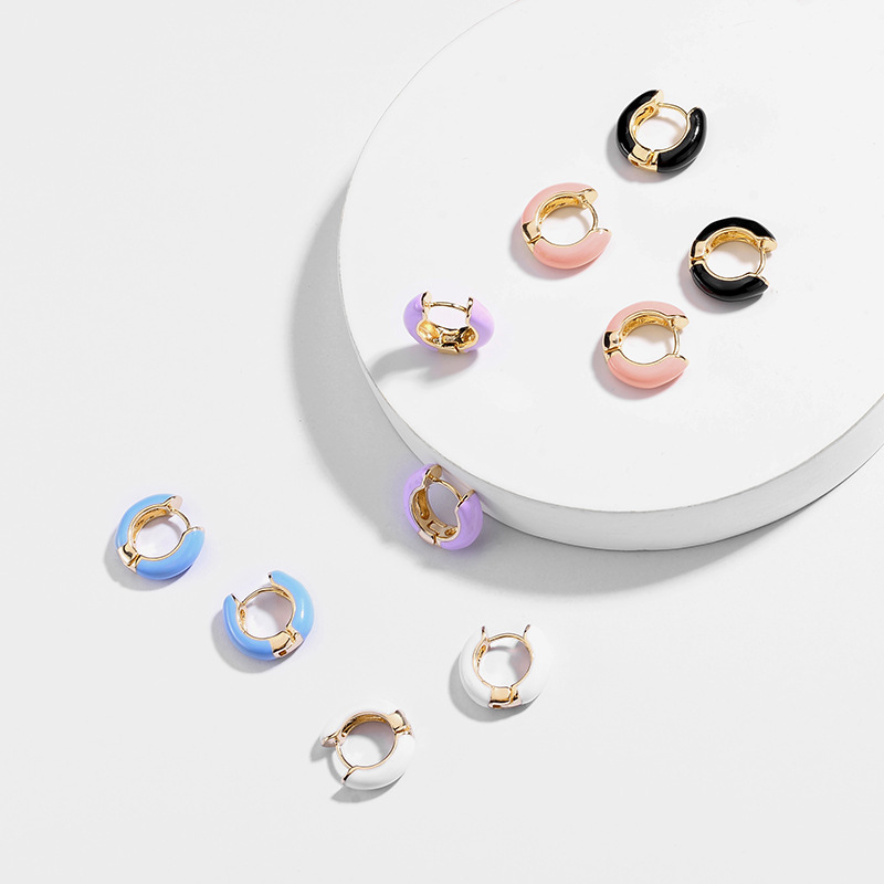 Fashion Women Round Circle Small Stud Earring Punk High-quality Korea Multicolor Geometric Earring for Party Wedding Ear Jewelry