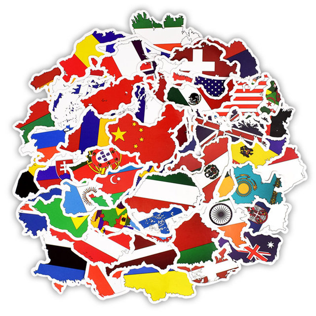 50 Pcs National Flags Laptop Stickers Waterproof PVC Countries Map Travel Stickers to DIY Computer Motor Suitcase Phone Notebook