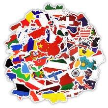50 sztuk flagi narodowe naklejki na laptopa wodoodporne kraje pcv mapa naklejki podróżne do DIY komputer silnik walizka telefon Notebook