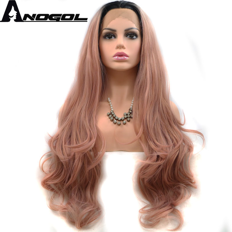 Anogol High Temperature Fiber Perruque U Part Full Deep Pink Wig Long Body Wave Synthetic Lace Front Wig For Women Costume