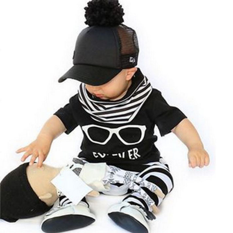 New 2017 fashion baby boy clothes baby clothing set cotton short-sleeved printed t-shirt+pants newborn baby girl clothing