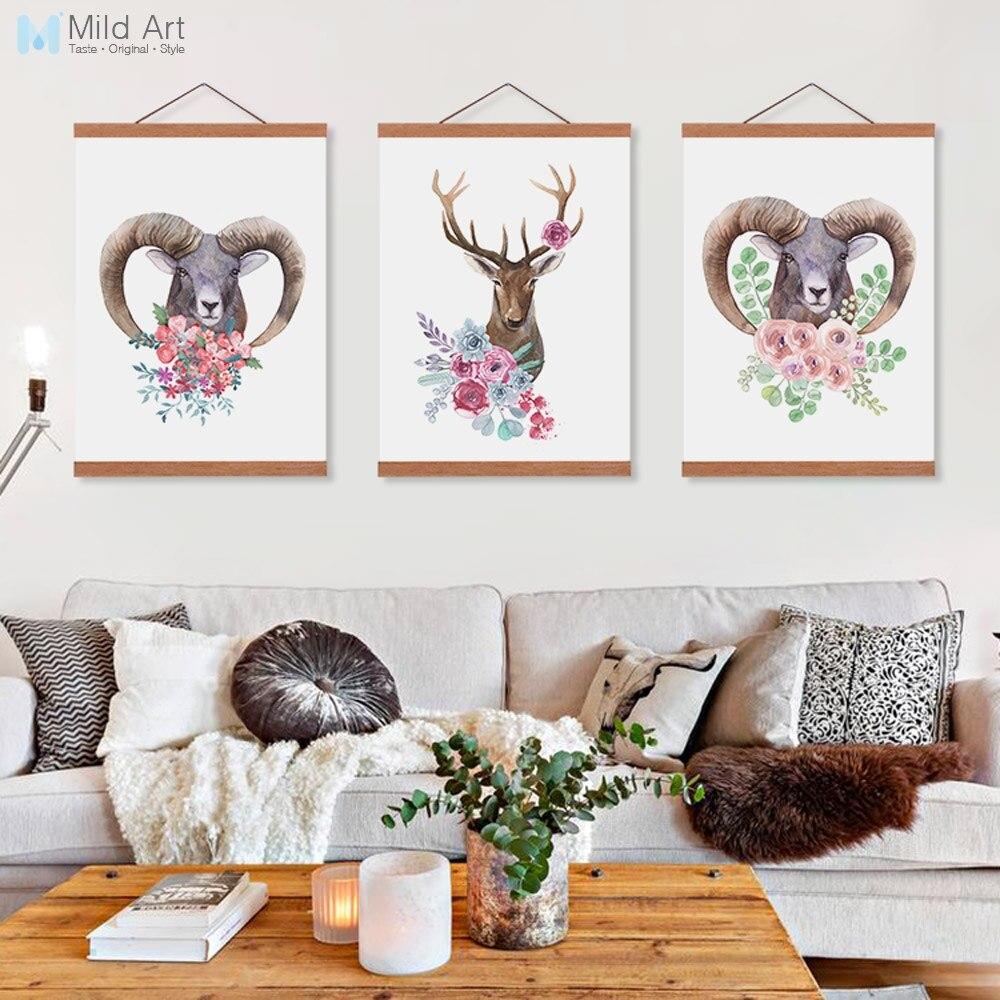 Sheep Wall Art Home Decor ~ Watercolor flower deer sheep nordic living room wooden