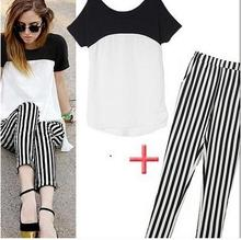 Fashion Summer maternity suits Pregant Women casual suit chiffon shirt striped trousers  two pieces sets  SH-482JYF