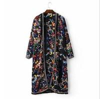JOYINPART2017 Ethnic Embroidery Tassel Shirt Printing New Summer Long Sleeve Fringe Cardigan Blouse Tops Shirt Blusas