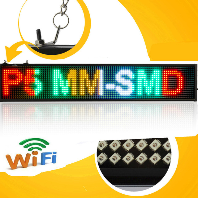 P5 SMD Led sign Android mobile wifi  wireless programmable scroll news Led display board (mixed color)