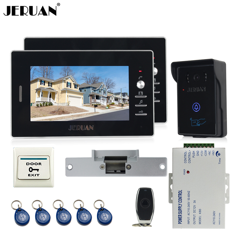 JERUAN two 7`` luxury Video Intercom Entry Door Phone System+700TVL Touch Key Waterproof RFID Access Camera+Cathode lock