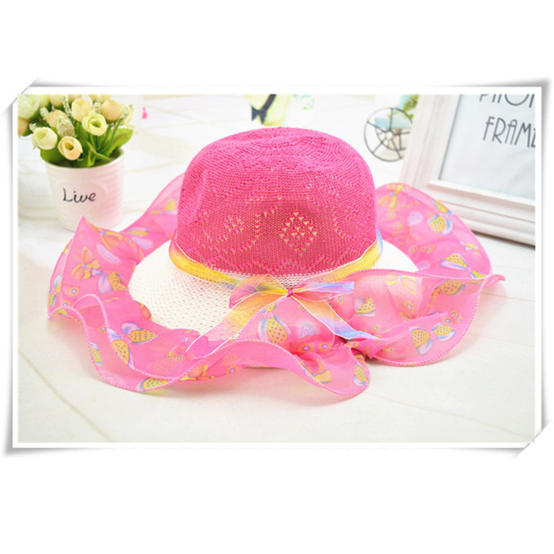 2019 new summer children's ribbon bow lace wavy straw hat Cute children straw hat girl princess face hat travel visor beach hat