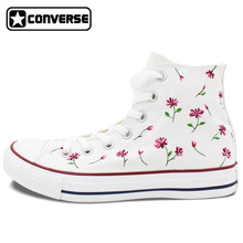 Womens Mens Converse All Star Woman Man Shoes Nature Flower Floral Original Design Hand Painted Shoes White High Top Sneakers