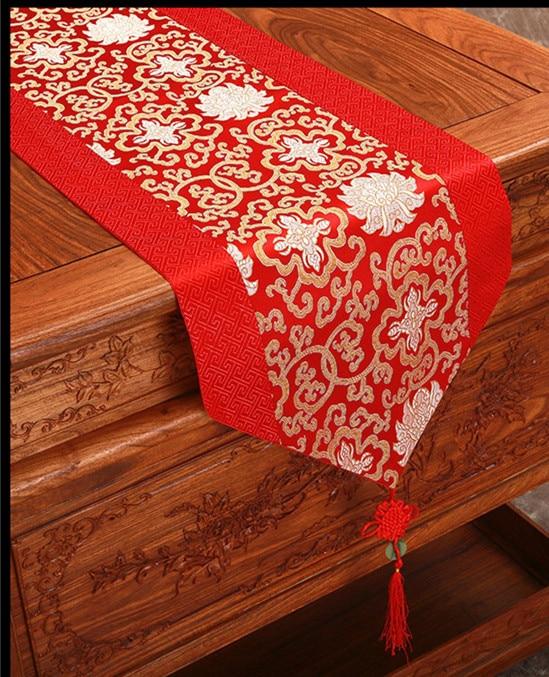 Patchwork Jacquard simpul Cina Damask Table Runner Sutra Brokat Meja - Tekstil rumah