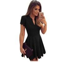 Black Red White Short Sleeve Peated Dress Good Quality Short Formal Dress Wear To Work V