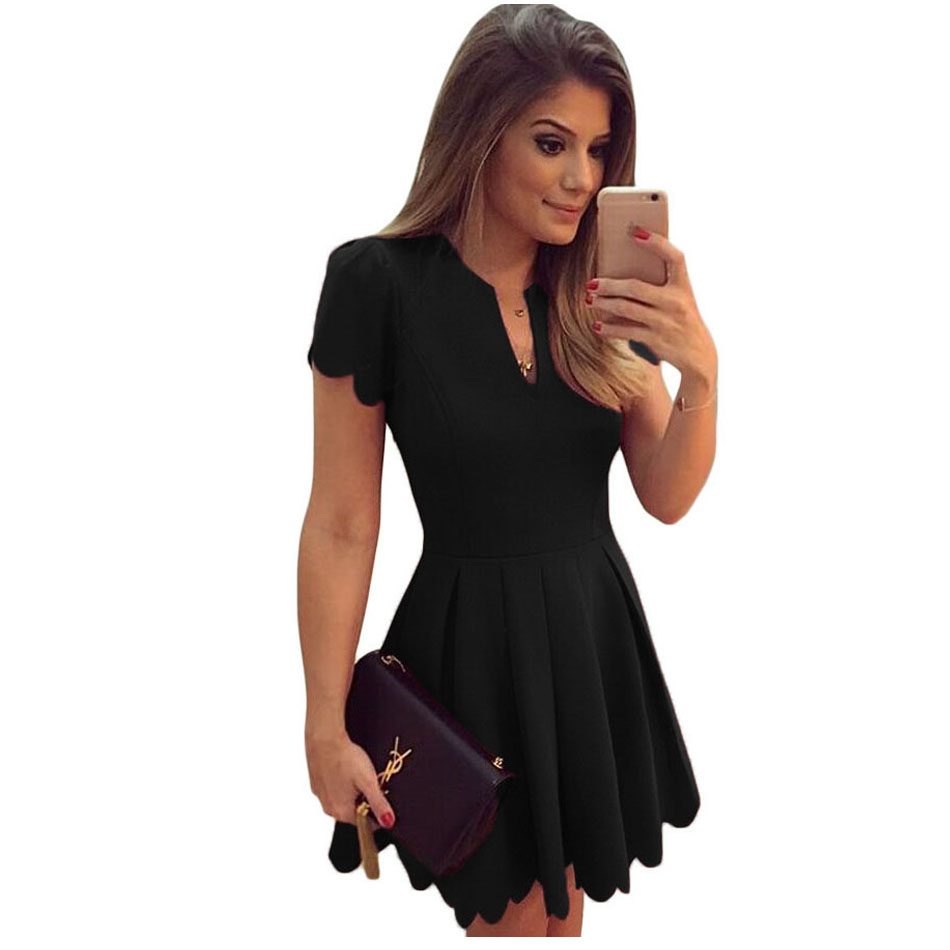 Black Red White Short Sleeve Peated Dress Good Quality ...
