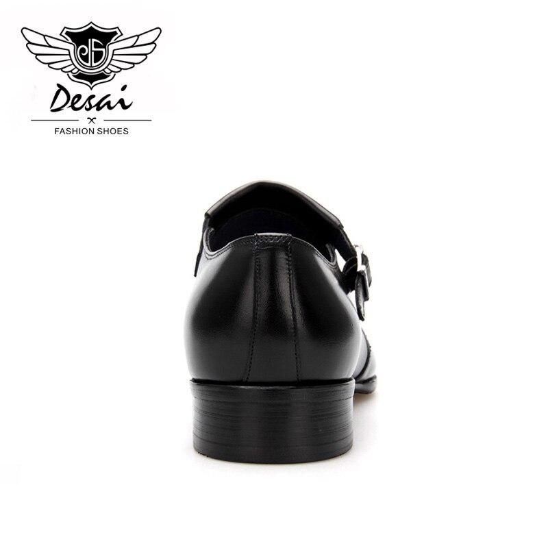 Estilo Dedo Completa Apontado Couro Desai Britânico Dos Negócios Sapatas Black Vestido Grain Derby Homens Fivela Sapatos De BPOwUfx