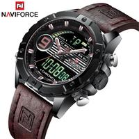 2019 NAVIFORCE Brand New Men Watch Digital Leather Male Sports Chronograph Military Quartz Watches 3Bar Waterproof Purple Clock