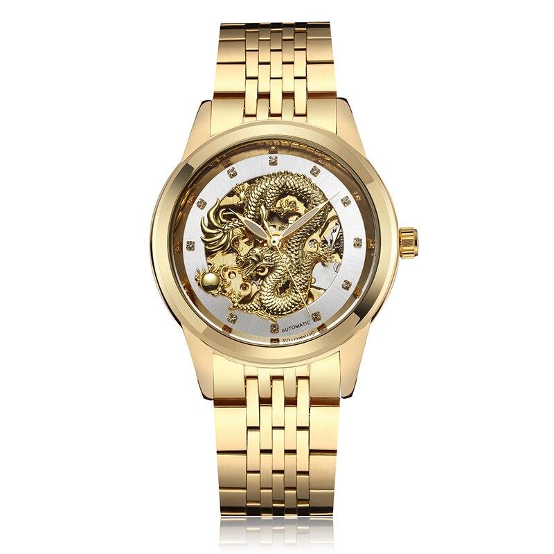 De Lujo dragón automática auto-viento impermeable mecánico de los hombres esqueleto analógico reloj de pulsera mecánico bayan kol saati